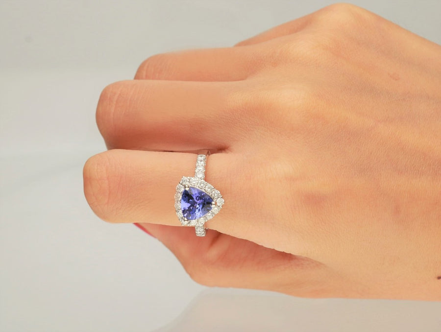 14K White Gold Trillion Cut Tanzanite & Diamond Halo Ring