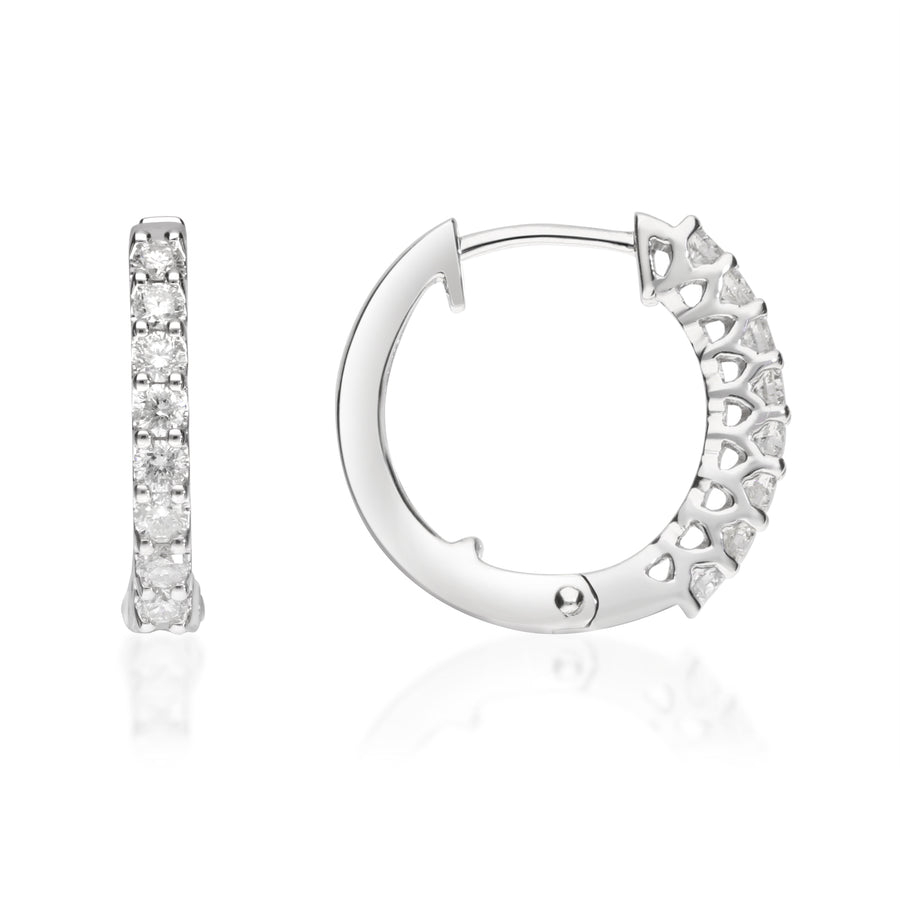 14K White Gold Circle Hoop Diamond Earring