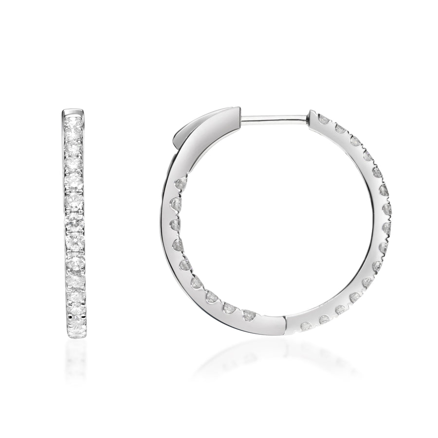 14K White Gold Circle Hoop Diamond Earrings