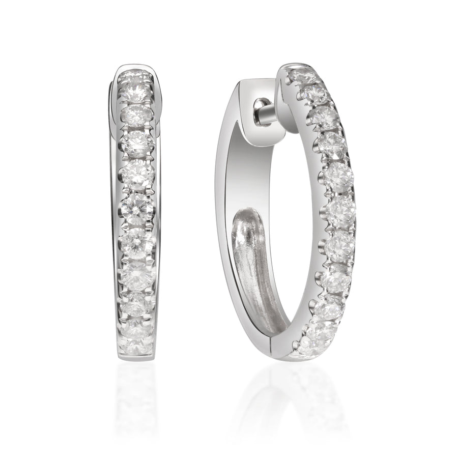14K White Gold Classic Round Diamond Huggie Earring