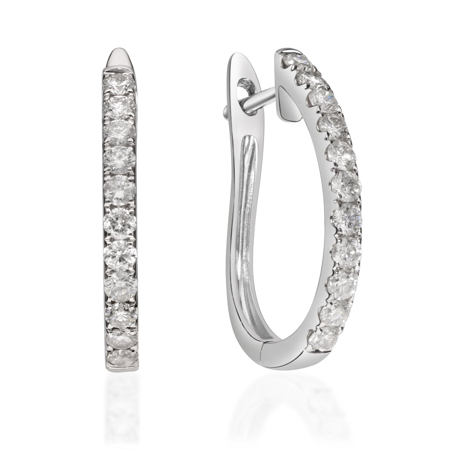 14K White Gold Latch Back Diamond Earring