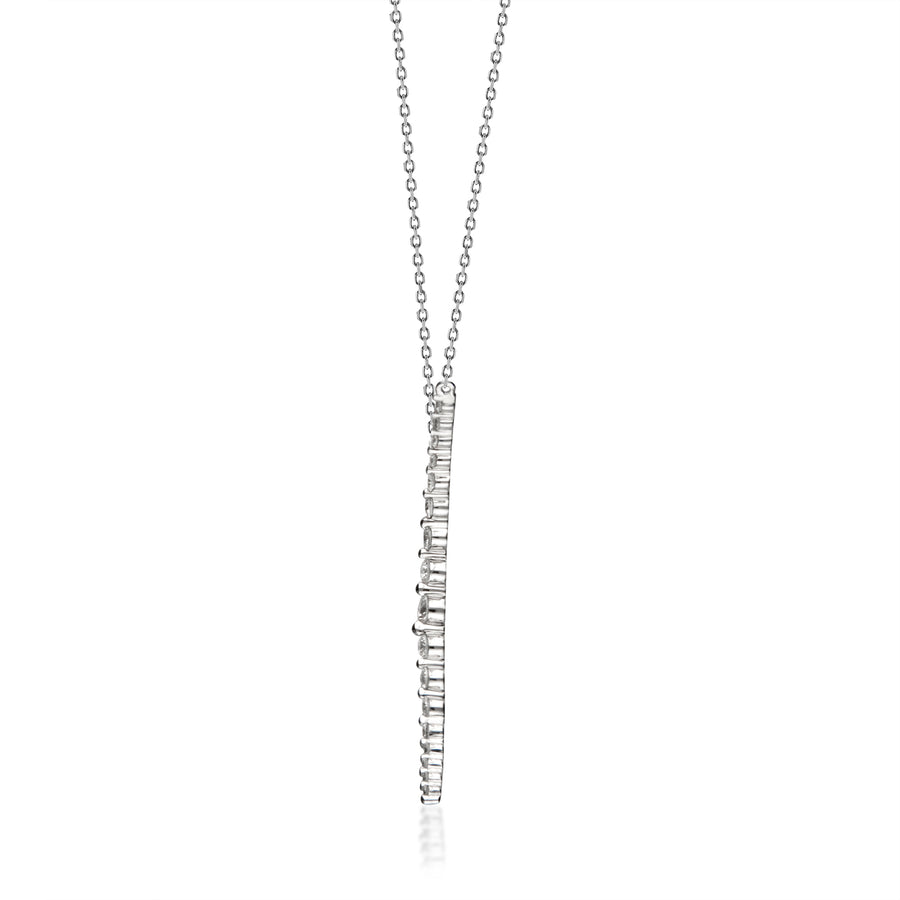 14 Karat White Gold Diamond Beaded Necklace