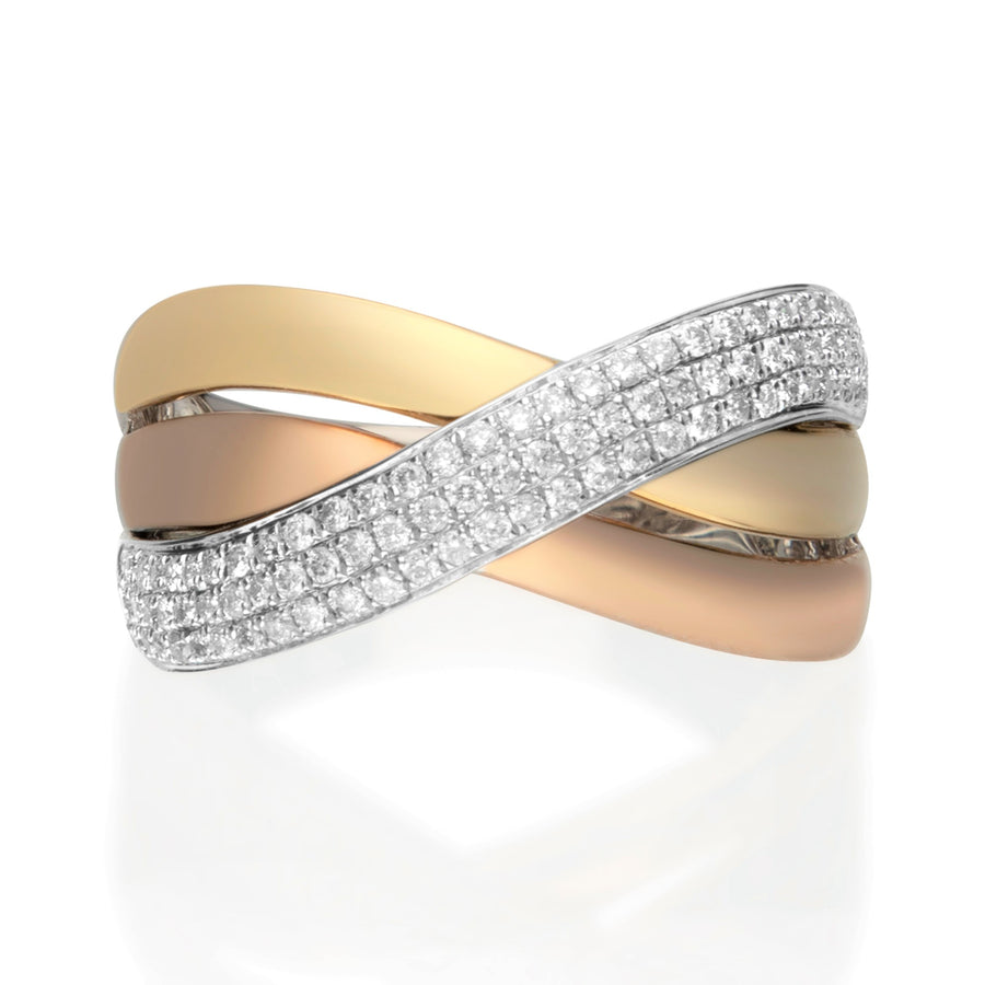 14 Karat Three-Tone Gold Criss Cross Diamond Band Ring