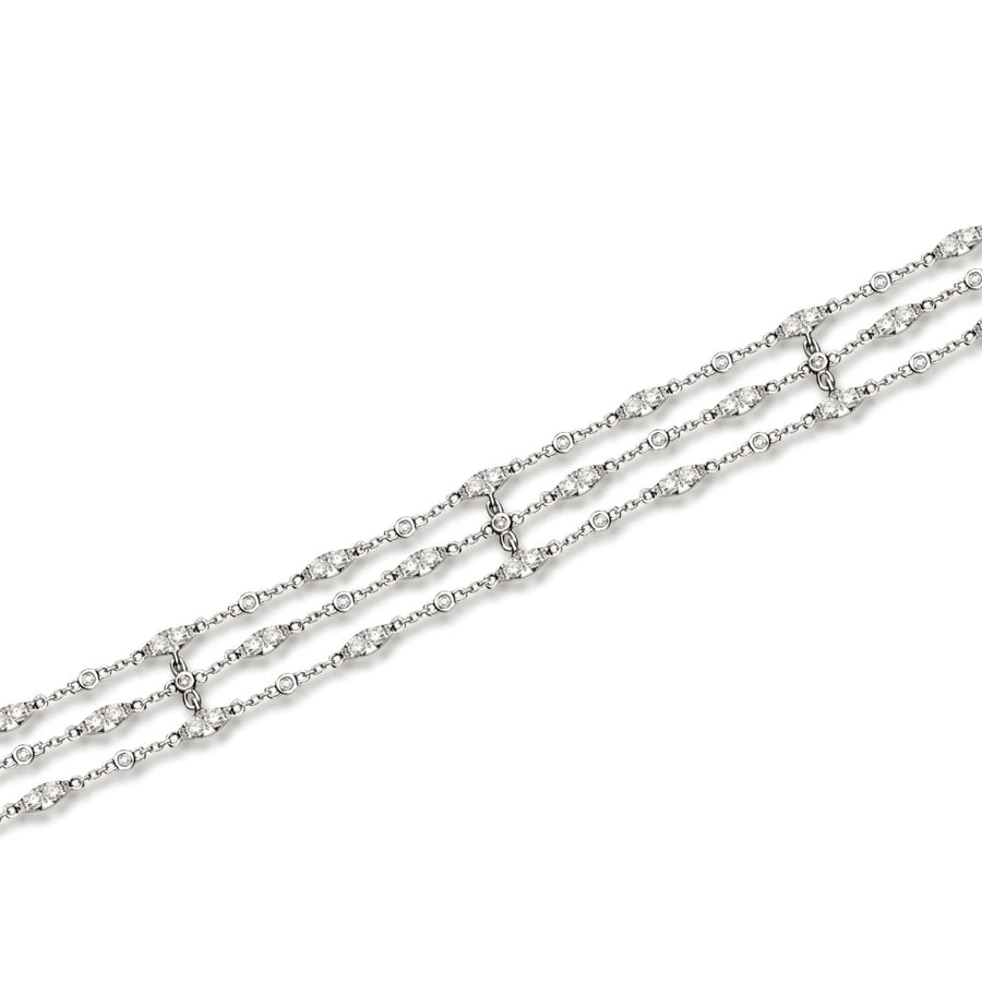 18 Karat White Gold Three Line Diamond Bracelet