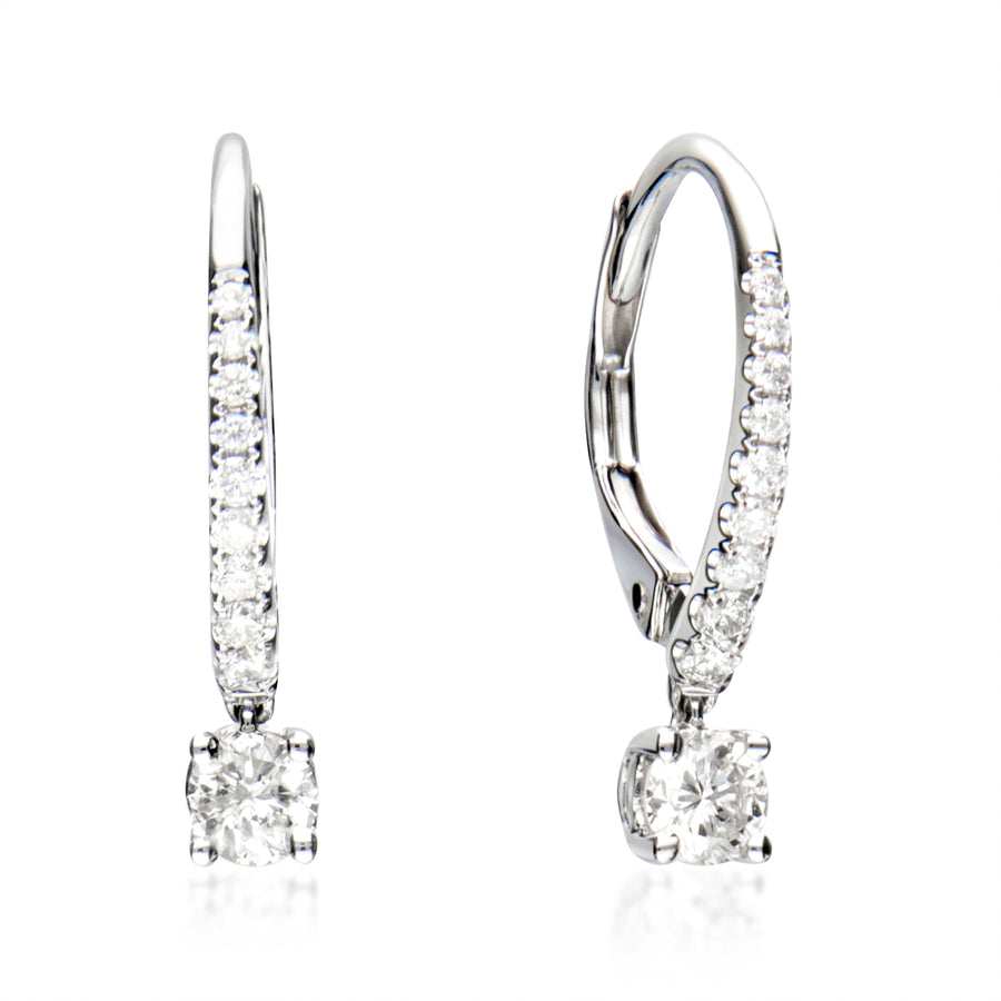 14 Karat White Gold Lever Back Drop Earrings