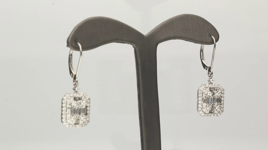18 Karat White Gold Baguette Cluster Drop Lever Back Earrings
