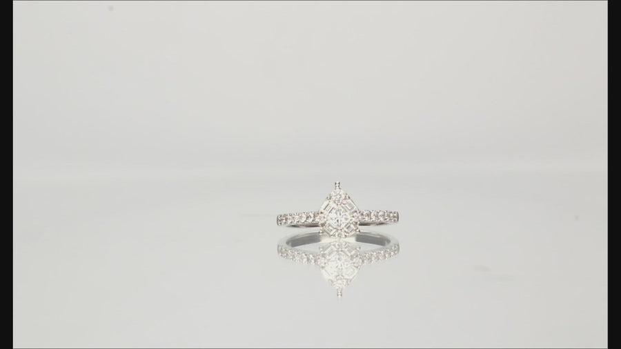 14 Karat White Gold Cluster Diamond Engagement Ring