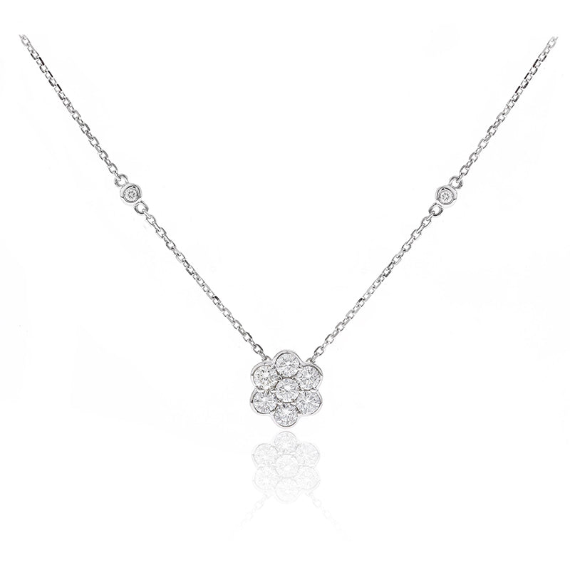 14 Karat White Gold Cluster Necklace