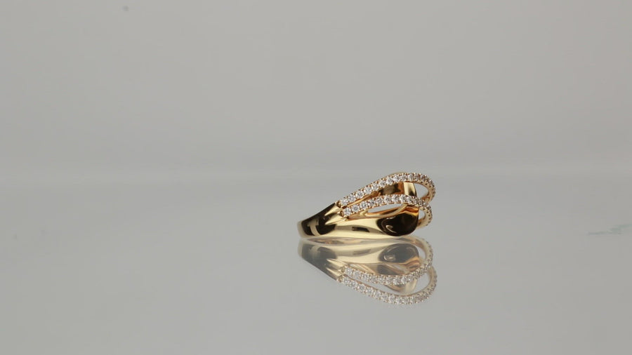 14 Karat Yellow Gold Criss Cross Diamond Ring