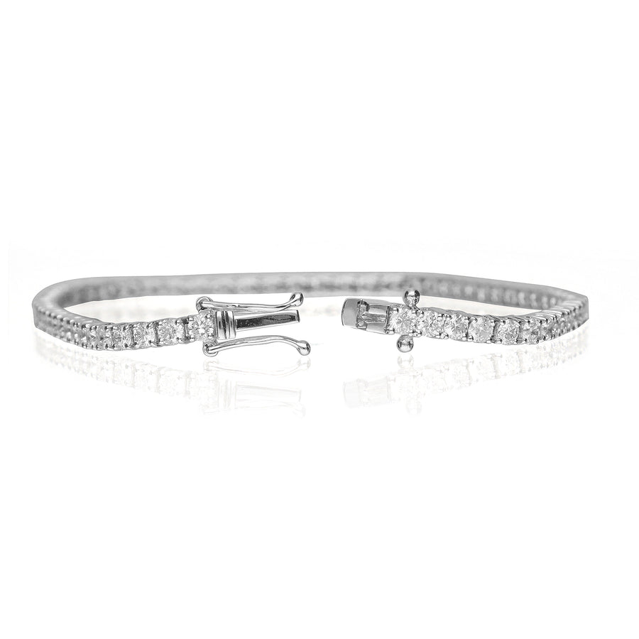 14K White Gold Tennis Diamond Bracelet