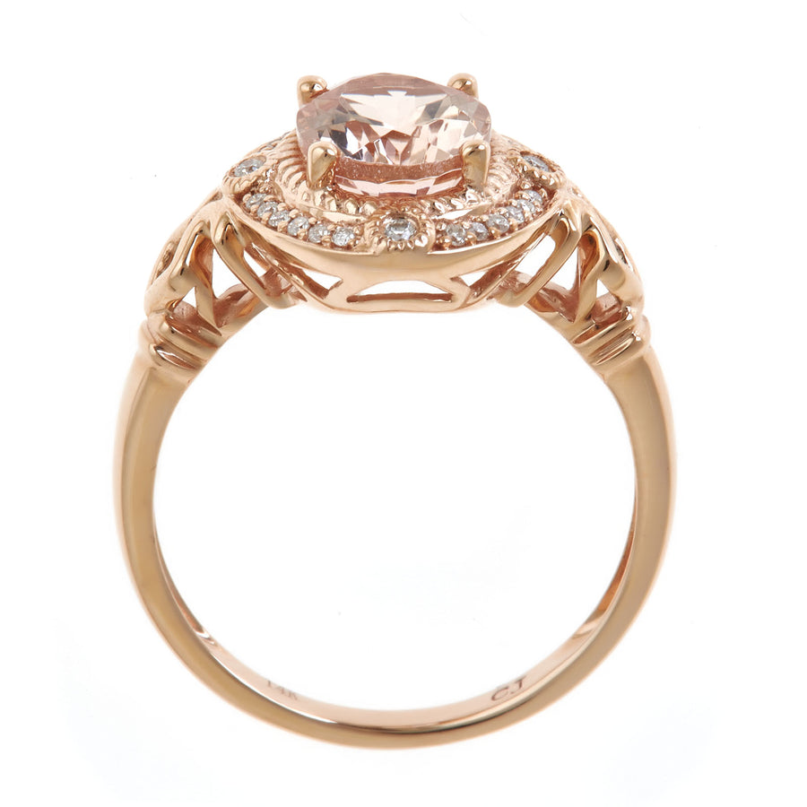 14K Rose Gold Morganite & Diamond Ring