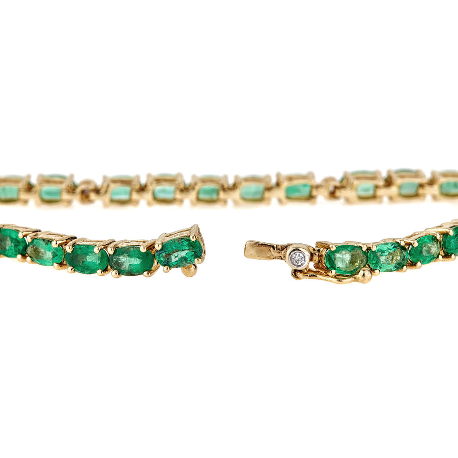14K Gold Emerald & Diamond Tennis Bracelet