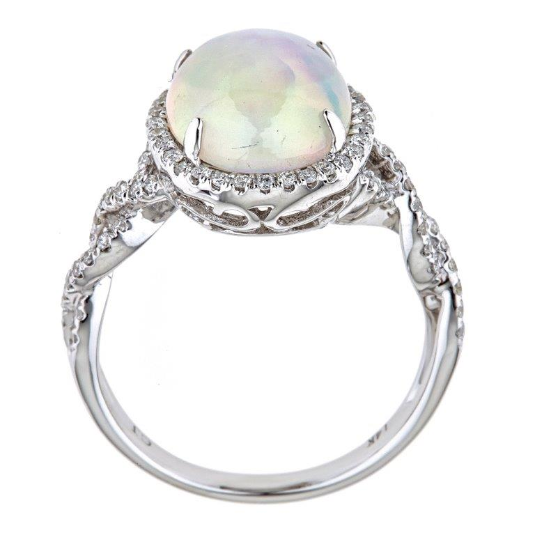 14K White Gold Ethiopian Opal & Diamond Ring