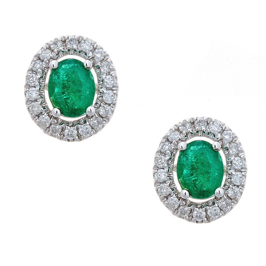14K White Gold Emerald & Diamond Oval Stud Earrings