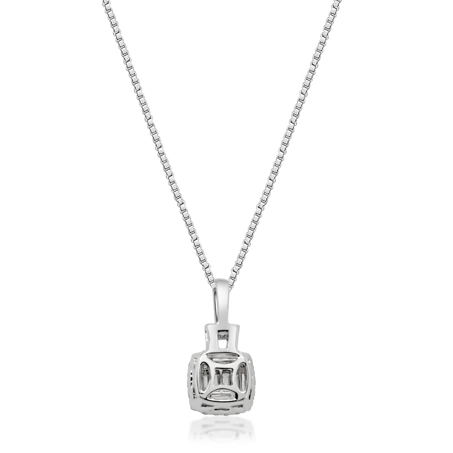 14K White Gold Baguette Cushion Pendant