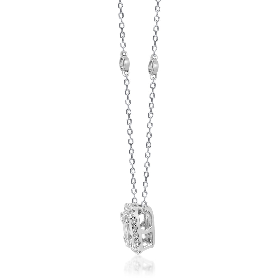 14K White Gold Baguette Cluster Necklace