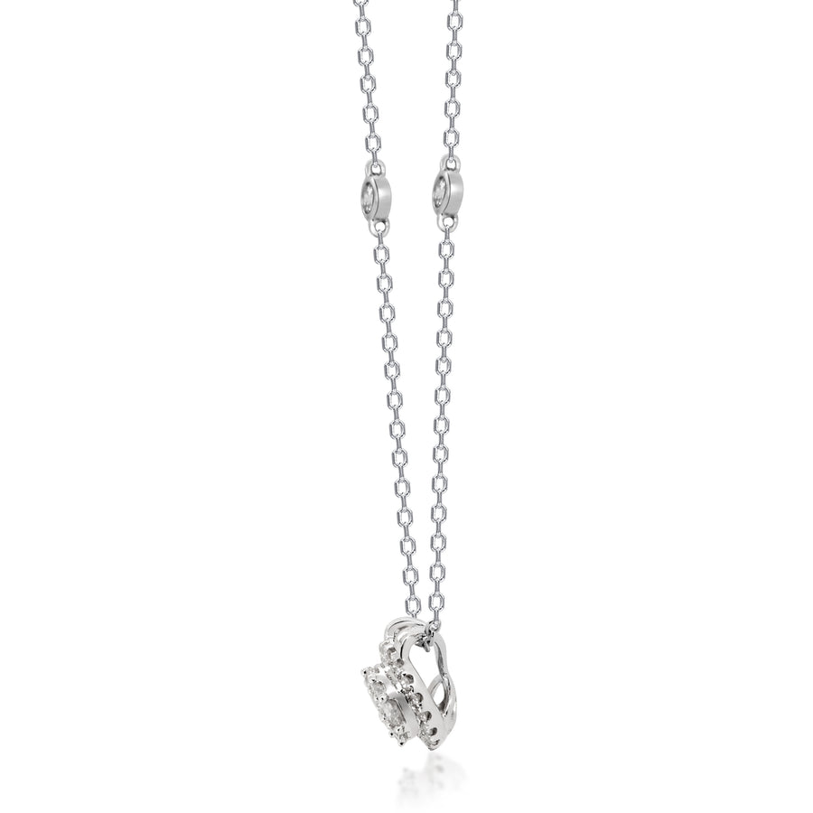 14K White Gold Round Diamond Cluster Necklace