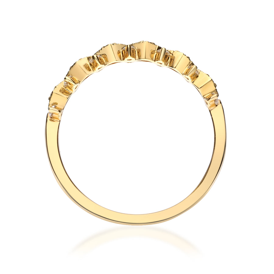 18K Yellow Gold Round Diamond Station Ring