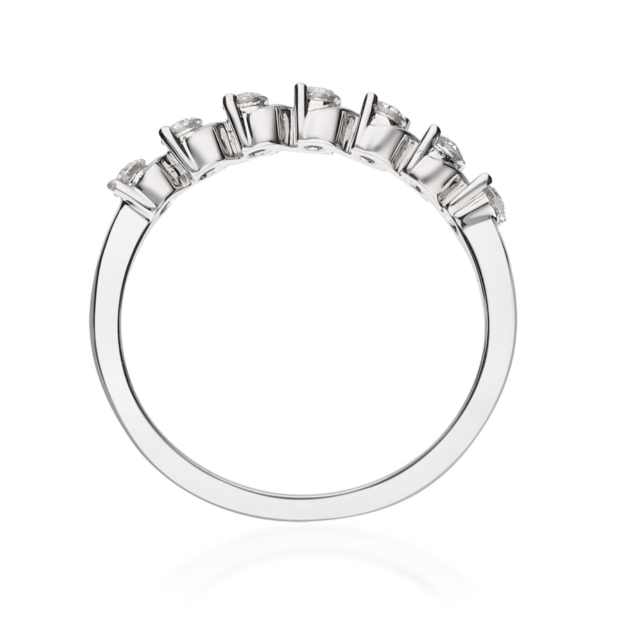18K White Gold Diamond Beaded Ring