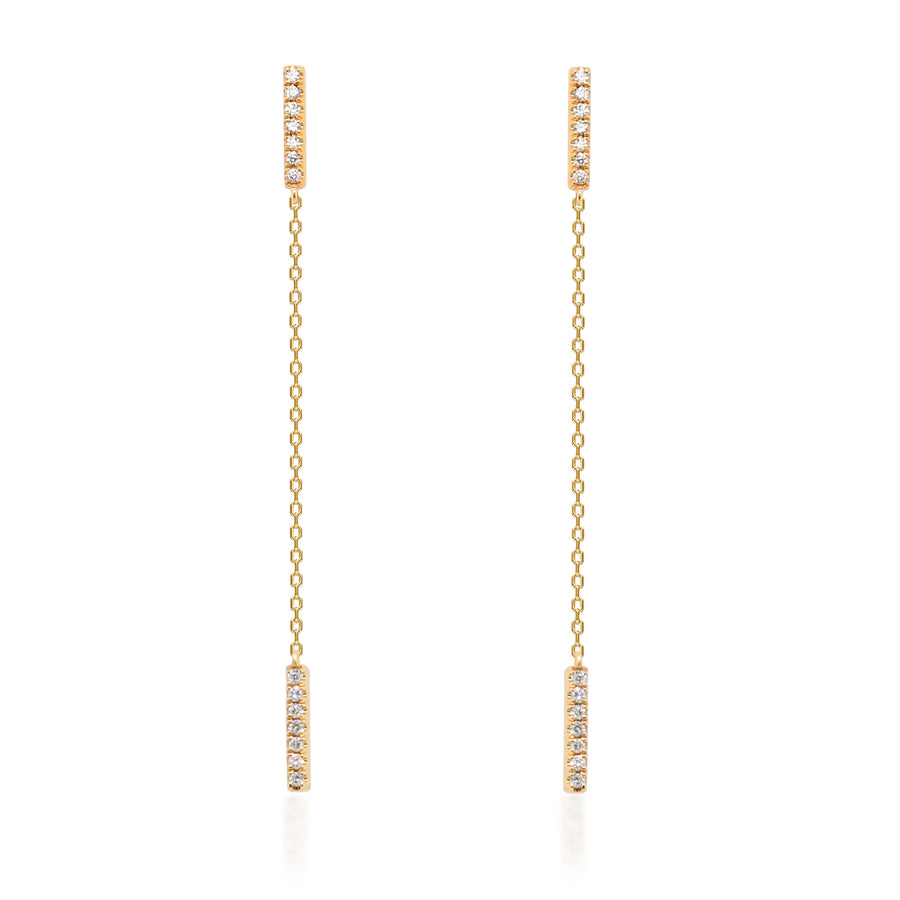 14K Yellow Gold Long Chain Drop Earring