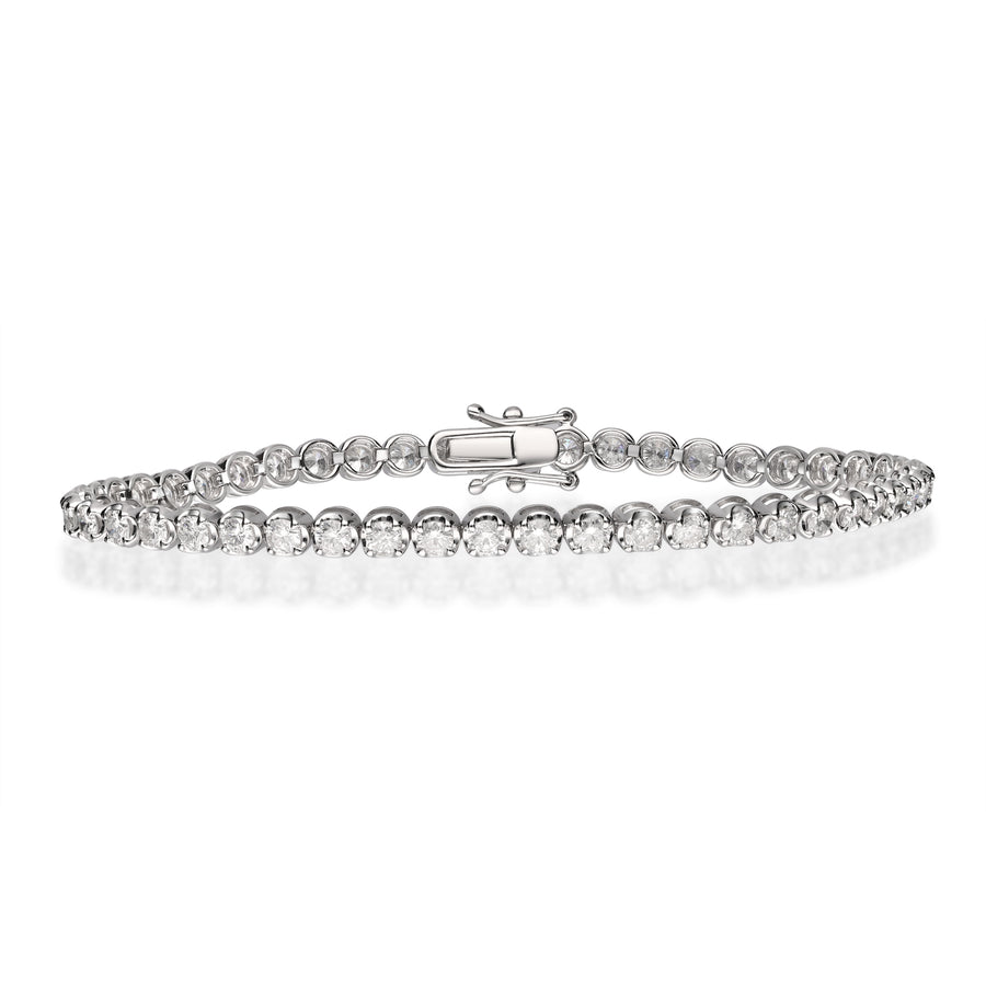 14K White Gold Diamond Beaded Bracelet