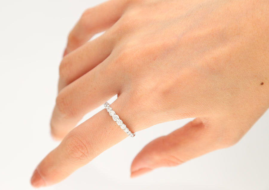 14K White Gold Round Stackable Diamond Ring