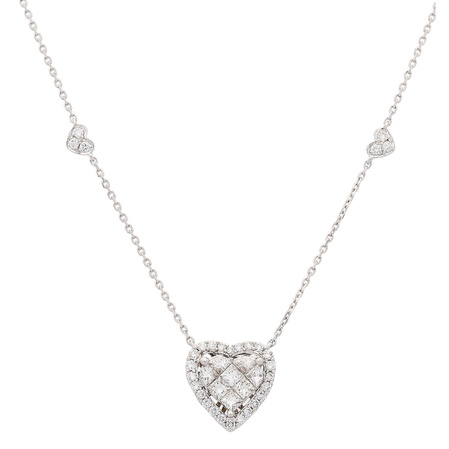 18 Karat White Gold Heart Diamond Necklace