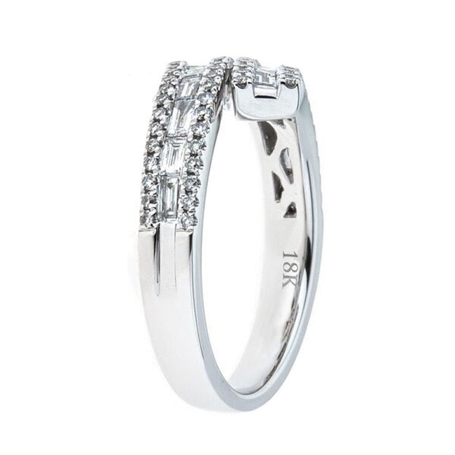 18K White Gold 0.85ctw Baguette Diamond Bypass Ring