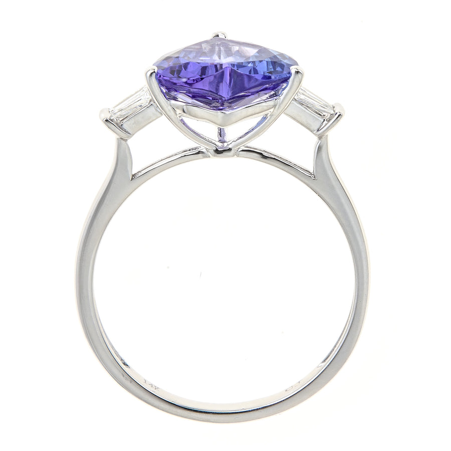 14K White Gold Heart Shaped Tanzanite & Diamond Ring