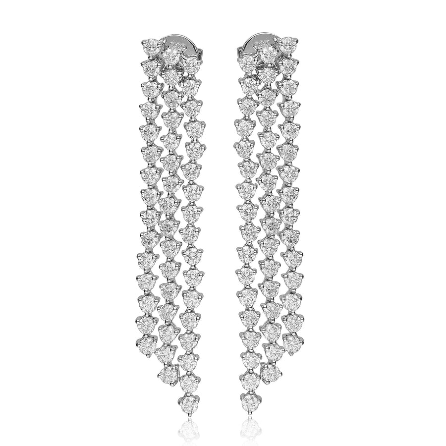 14K White Gold Three Row Linear Drop Diamond Earring