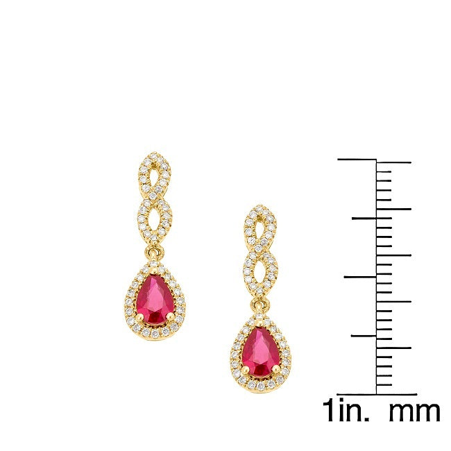 18K GOLD 1.25CTW RUBY & DIAMOND DROP EARRINGS