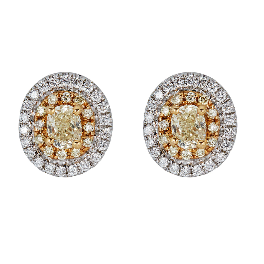 18K NATURAL YELLOW OVAL DIAMOND EARRING