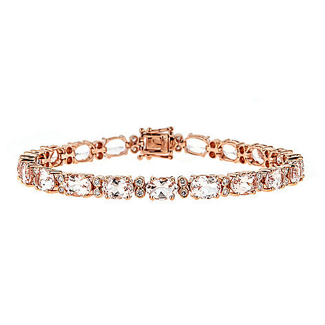 14KR Morganite & Diamond Tennis Bracelet