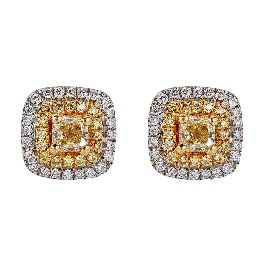 18K NATURAL YELLOW DIAMOND EARRING