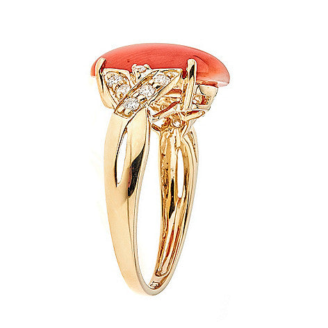 18K Yellow Gold Coral and Diamond Ring