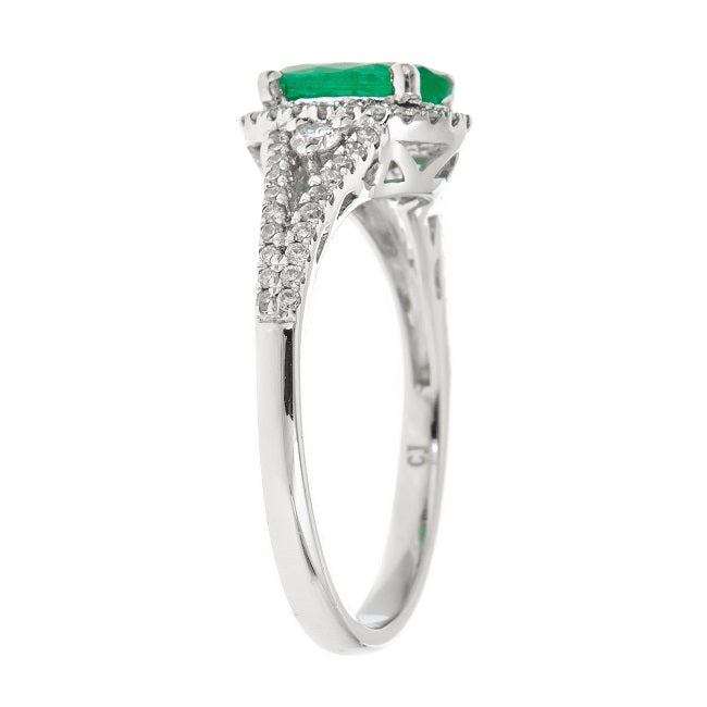 14KW EMERALD AND DIAMOND RING
