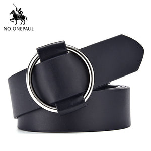NO.ONEPAUL Genuine quality ladies fashion latest needle-free metal round buckle belt jeans wild luxury brand