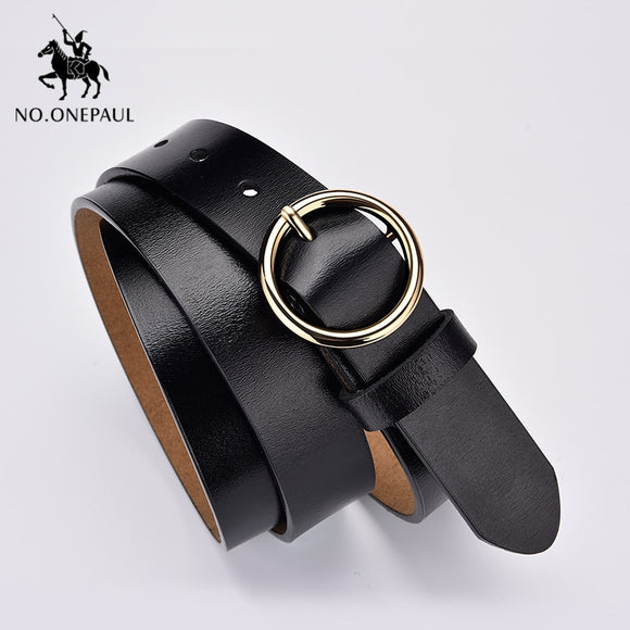 NO.ONEPAUL  wild belts for women fashion students simple New Circle Pin Buckles Belt