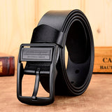 belt men male genuine luxury leather strap pin buckle fancy vintage jeans