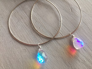Fire Moonstone Hammered Hoop Earrings