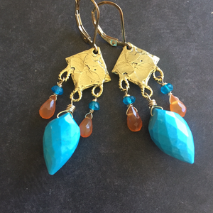 Cabana Na Na Na Bullet Earrings, OOAK