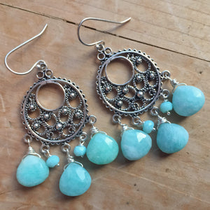 Amazonite Filigree Chandeliers, OOAK