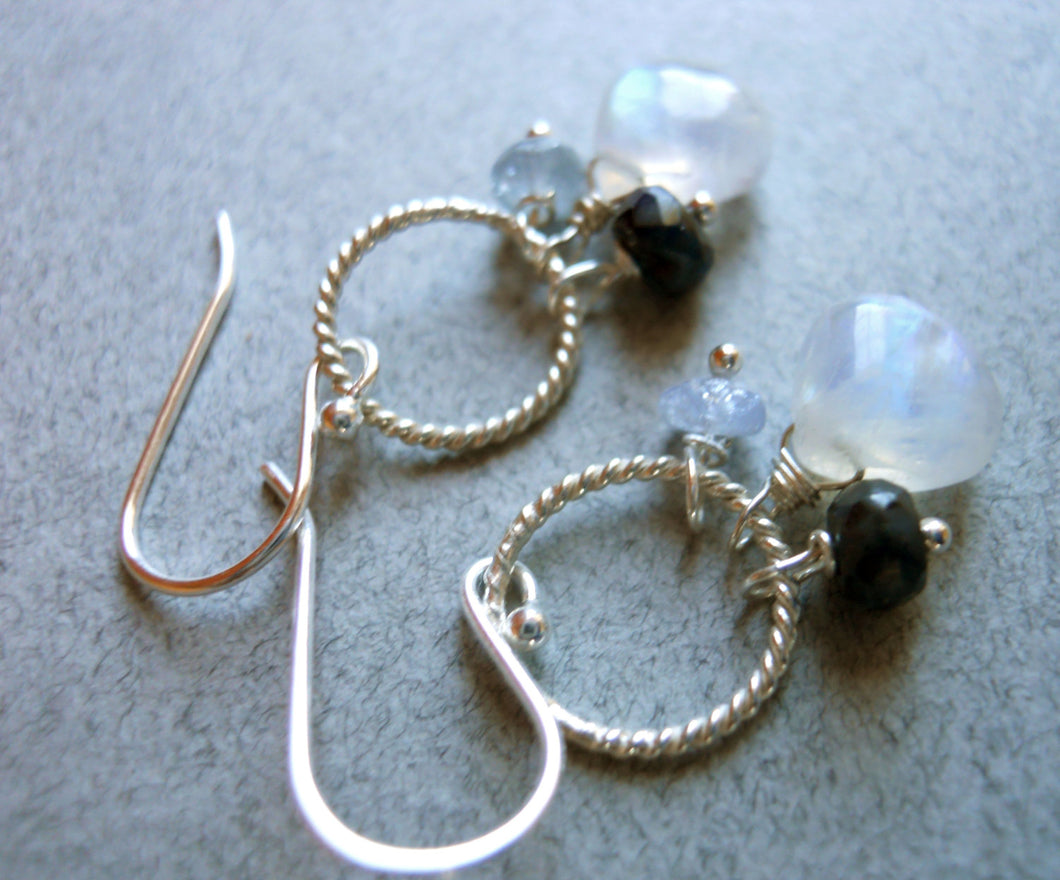 Tranquility  Moonstone and sapphire hoop drop earrings
