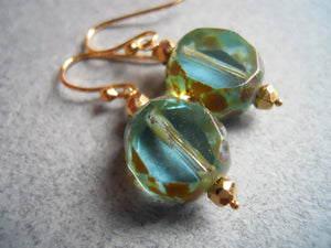 Cool Breeze Czech Glass with Picasso Finish Earrings