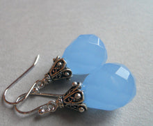 Load image into Gallery viewer, Serenity Blue Chalcedony Drop earrings