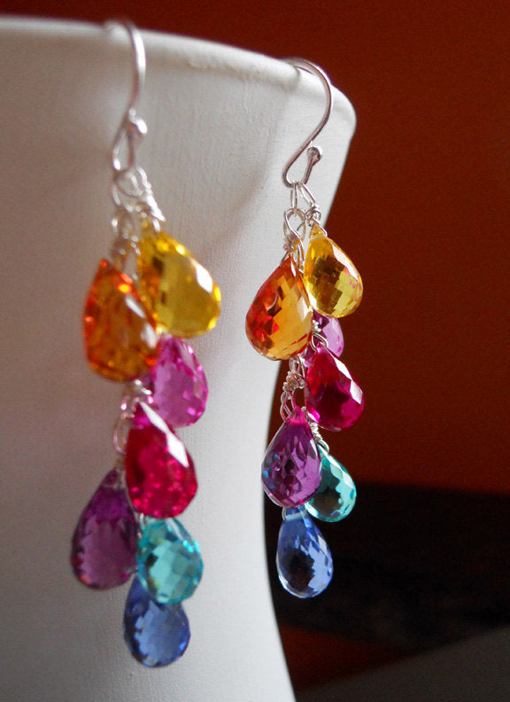 Multi color quartz teardrop earrings -  Goody Goody Gumdrops