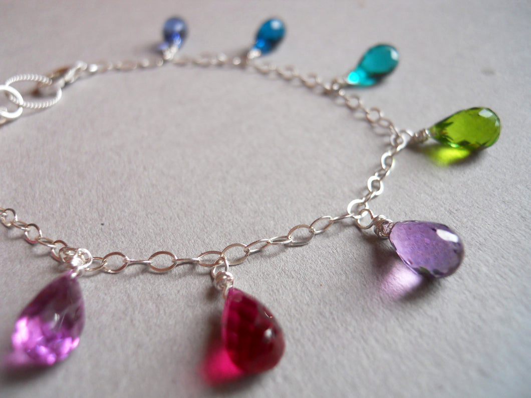 All That Multi-Colored faceted quartz droplet bracelet