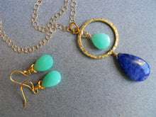 Load image into Gallery viewer, All Eyes On You Chrysoprase and Lapis necklace