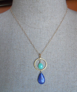 All Eyes On You Chrysoprase and Lapis necklace