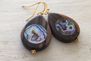 Abalone Teardrops, Double sided, Hawaiian Ebony Hardwood, One of a kind